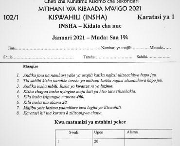 Maranda & Kisii High Joint Post-Mock Kiswahili Paper 1 2021 (With Marking Scheme)