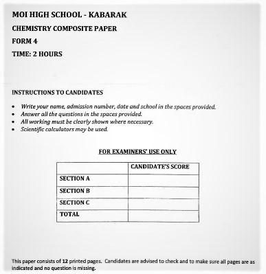 Moi Kabarak Post-Mock Chemistry Composite Paper 2021 (With Marking Scheme)