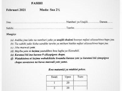 Moi Kabarak Post-Mock Kiswahili Paper 3 2021 (With Marking Scheme)
