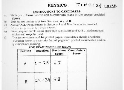 Moi Kabarak Post-Mock Physics Exam Paper 2021 (With Marking Scheme)