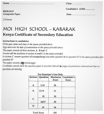 Moi Kabarak Post-Mock Biology Composite Paper 2021 (With Marking Scheme)
