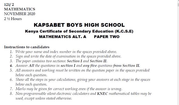 Kapsabet Mock 2021 Math Paper 2