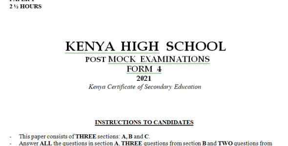 Kenya High Mock History Paper 1 2021 (With Marking Scheme)