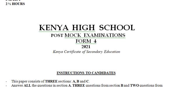 Kenya High Mock History Paper 1 2021 (With Marking Scheme)