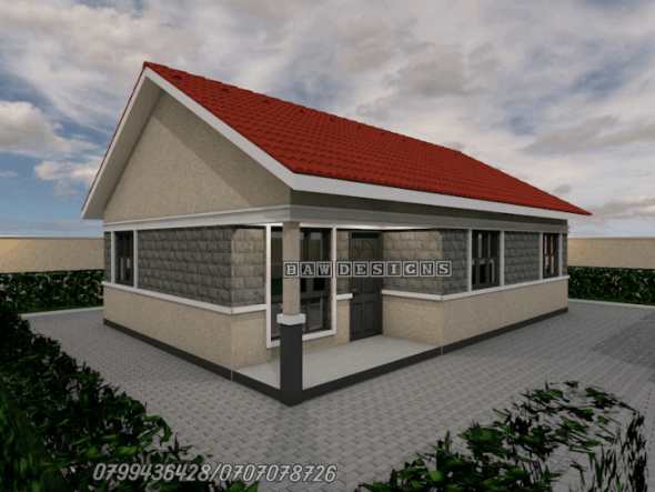 Simple and Beautiful 2 Bedroom Bungalow House plan