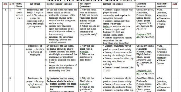 Longhorn CRE grade 5 Schemes of Work term 2