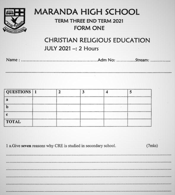 Maranda Christian Religious Education Form 1