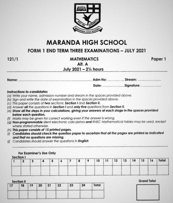 Maranda Mathematics Form 1 End of Term 3 2021