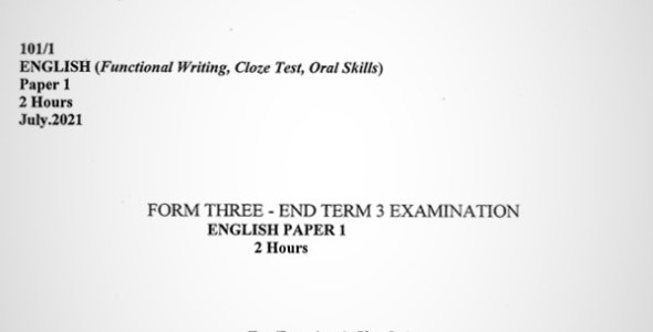 Maranda English PP1 Form 3 End of Term 3 2021