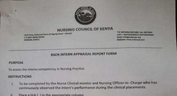 NCK BSCN internal appraisal report form