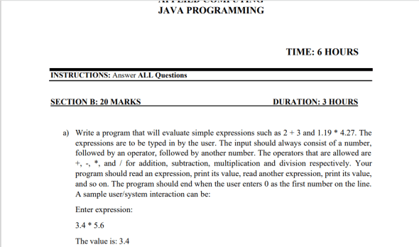 Java Programming Revision Past Papers (Questions)