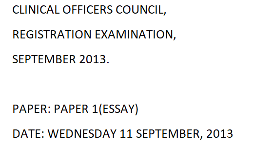 Clinical Officers Council (COC) Exam Past Paper 2013