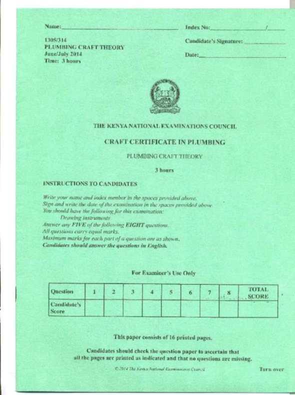 KNEC Exam for Plumbing Craft Certificate 2012-2016