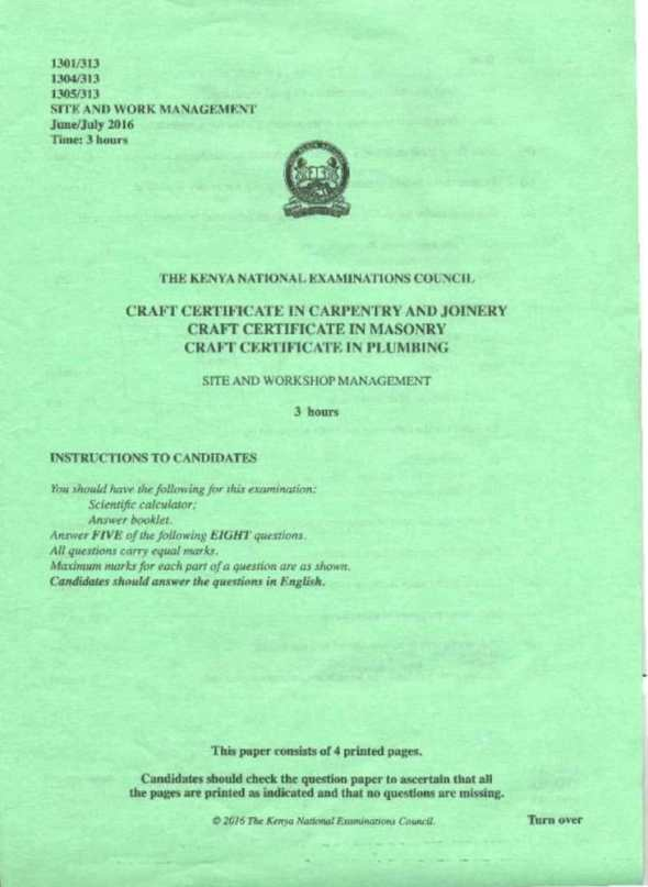 KNEC Exam for Certificate in carpentry and joinery