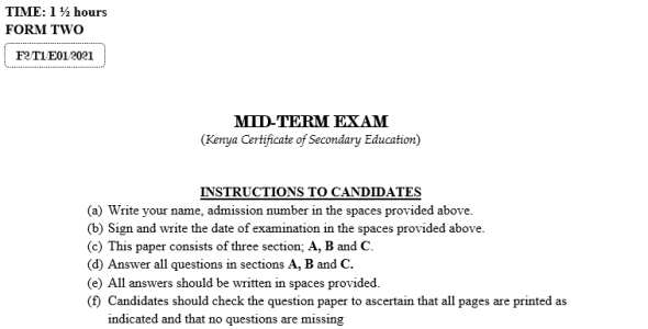 Form 2 Agriculture Mid-Term 1 Exam (With Marking Scheme)-2021