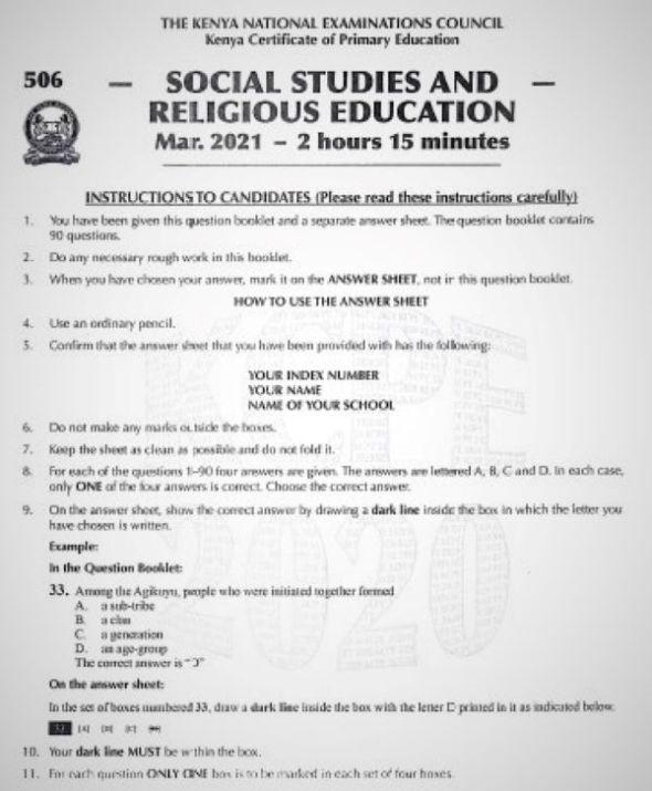 2020 KCPE KNEC Social Studies & Religious Education