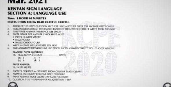 2020 KCPE KNEC Kenya Sign Language Past Paper