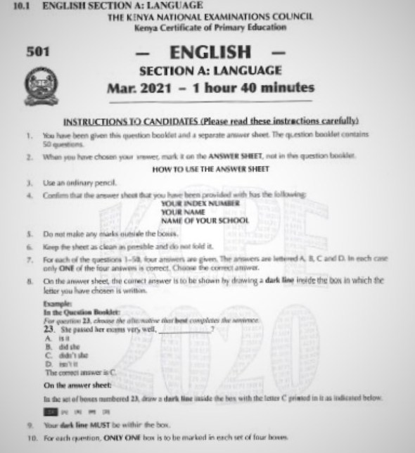 2020 KCPE KNEC English Past Paper