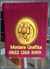 Cetak buku yasin murah cover bludru maroon 2