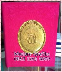 Cetak buku yasin murah cover bludru pink
