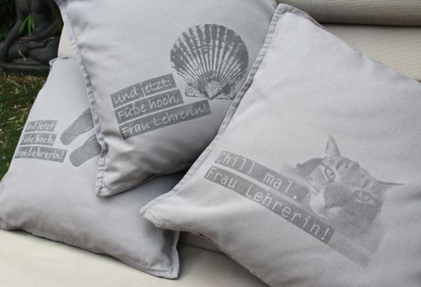Lavendeldruck: fertiges Kissen