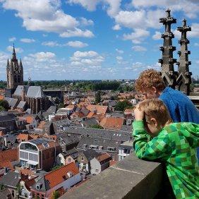 Delft mit Kind: Delft von oben vom Turm der Nieuwe Kerk