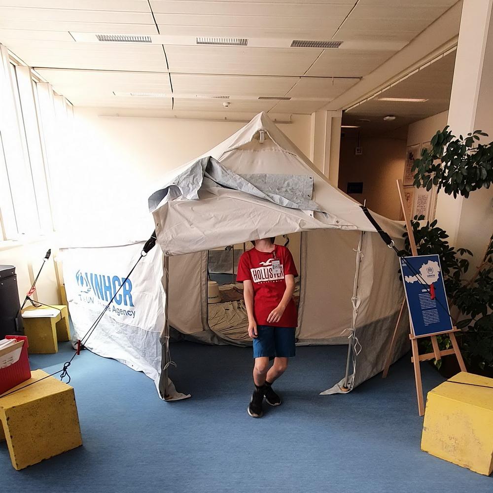 UNHCR-Flüchtlingszelt in der Uno-City: Vienna International Centre