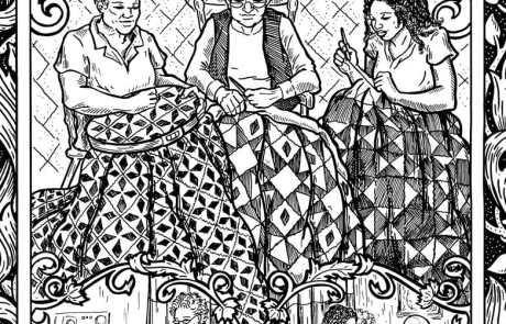 Obra de arte de personas haciendo colchas y visitando a sus seres queridos