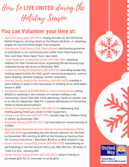 United Way Holiday needs