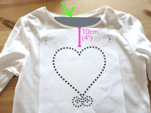 DIY Hot-fix Rhinestone Pattern Making - placing pattern on shirt