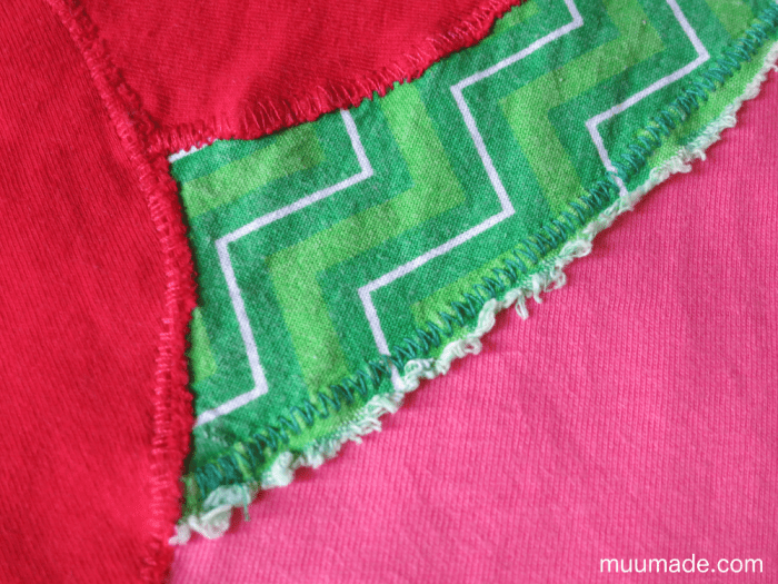 Designing your own applique for a T-shirt: closeup after washing