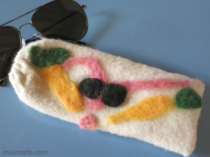 Flat needle felting - sunglasses case