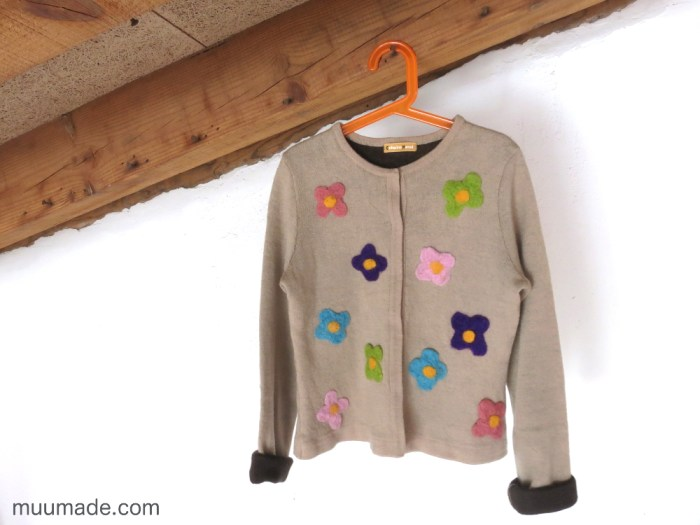 Flat needle felting - color flowers on an upcycled sweater