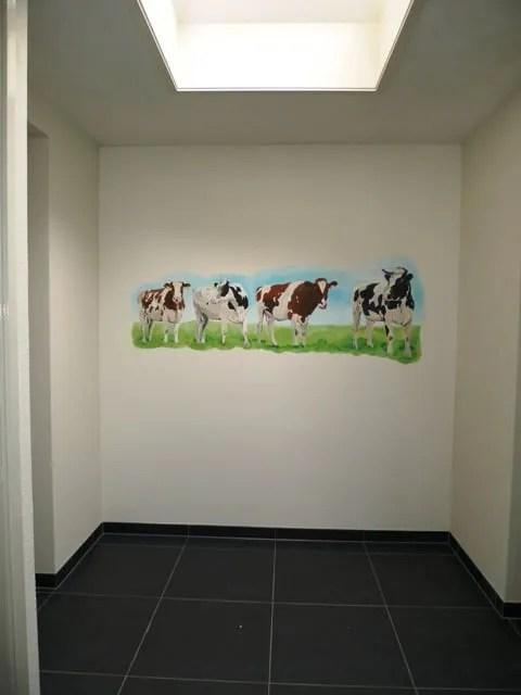 muurschildering koeien