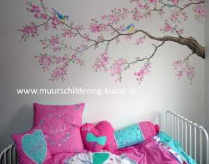 muurschildering kinderkamer meisje