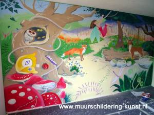 muurschildering sprookjesbos