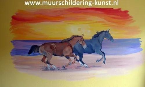 muurschildering paarden