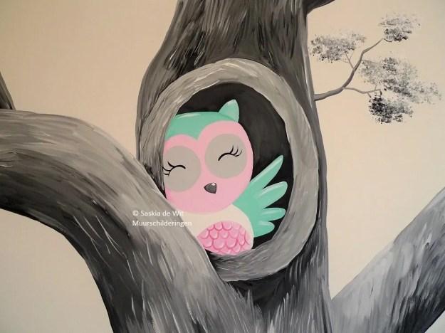 muurschildering uiltjes