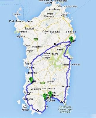 Sardinian road tripin kartta