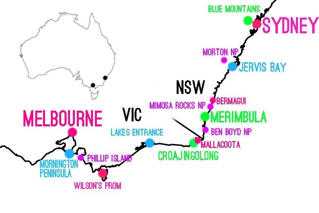 Melbourne Sydney kartta