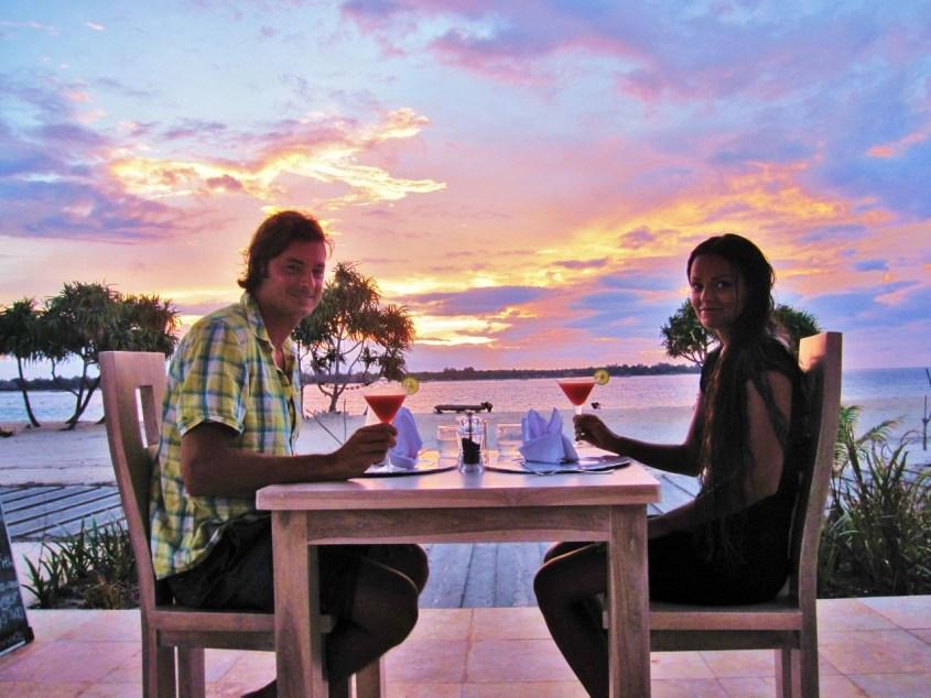 Auringonlasku illallinen Balilla
