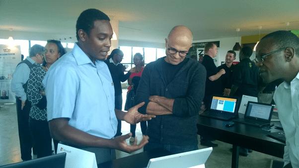 Francis showcasing MYAccounts to Microsoft CEO Satya Nadella in Nairobi last year