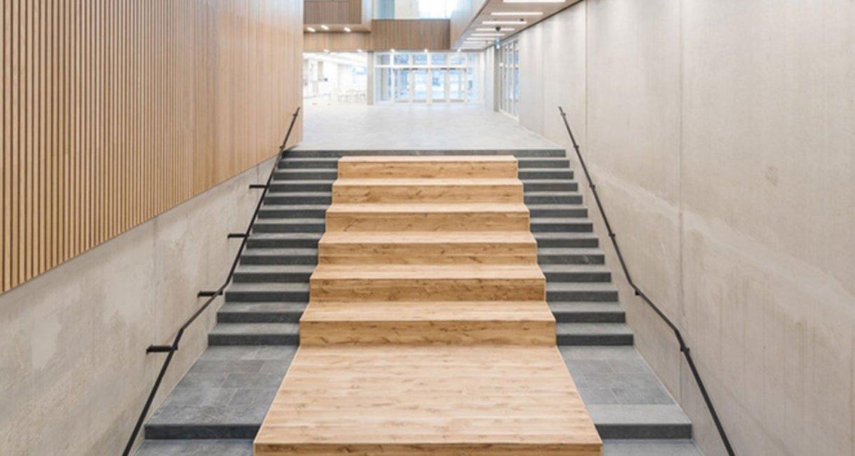Life-Science-Bioengineering-oak-wood-building-stairs