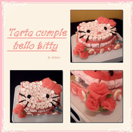 chuches   Muy Originalit     Tarta de chuches Hello Kitty