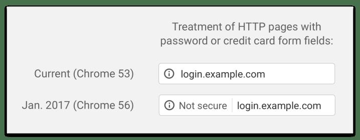 Nuevo tratamiento para los sitios web HTTP en Google Chrome 56