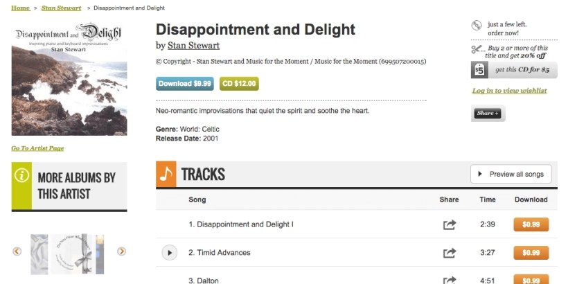 CD Baby screenshot for review