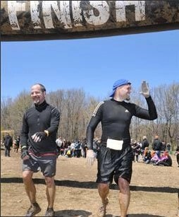Stan Stewart and Charlie Smith at Tough Mudder Finish