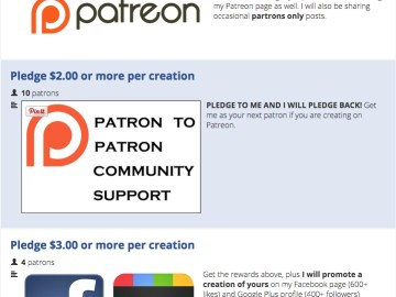Patreon giveback or reward examples