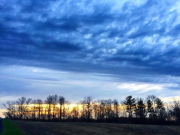 Dramatic Clouds for a Treeline Sunset