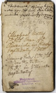Idősebb Vörösmarty Mihály feljegyzése fia születéséről a XVII. századi népszerű imádságoskönyv, az Officium Rákóczianum egy lapján